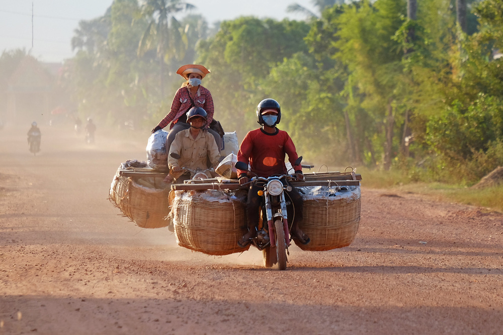 Transportation of fruit in Cambodia. <br />