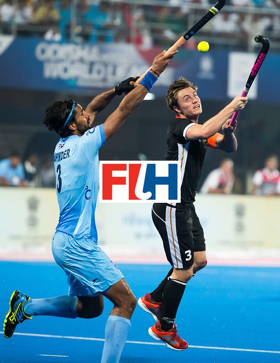 BHUBANESWAR - Hockey World League finals Match for bronze , Germany v India (1-2). Mats Grambusch (Ger) with  Rupinder Pal Singh (Ind) . COPYRIGHT KOEN SUYK