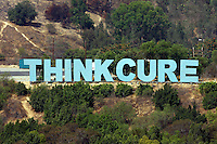 22 August 2009: THINK CURE sign during the MLB National League Chicago Cubs 2-0 loss to the Los Angeles Dodgers at Chavez Ravine. Think Blue sign was changed to Think Cure was launched in 2007 by the Dodgers, McCourt Family, City of Hope and CHOC.