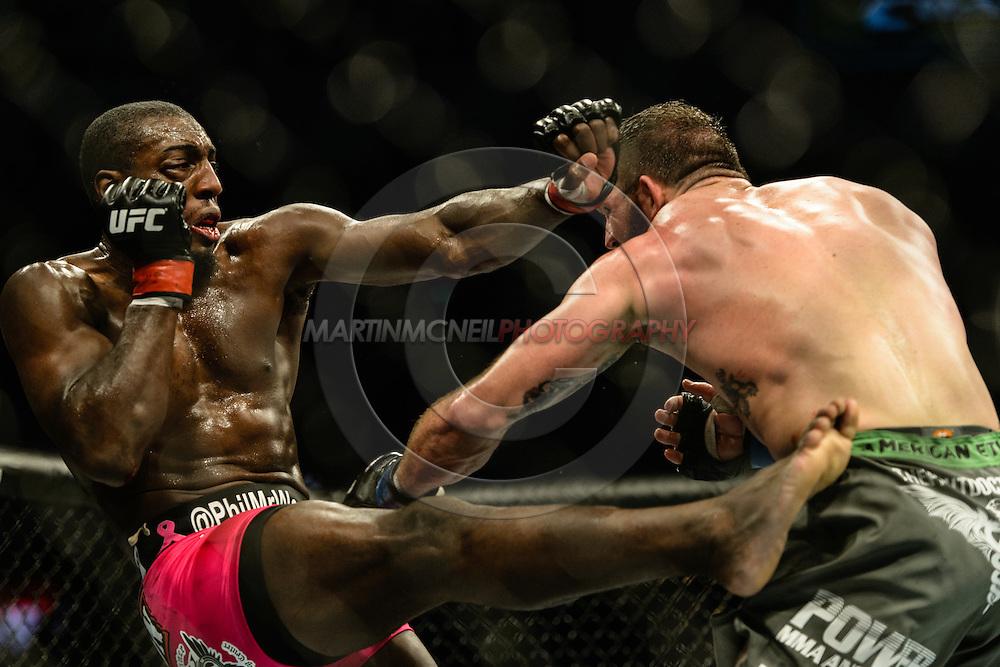 "STOCKHOLM, SWEDEN, JANUARY 24, 2015: Ryan Bader and Phil Davis during ""UFC on Fox 14: Gustafsson vs. Johnson"" inside Tele2 Arena in Stockholm, Sweden"