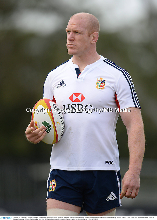 20 June 2013; Paul O'Connell, British & Irish Lions, at squad training following the team announcement ahead of their 1st test match against Australia on Saturday. British & Irish Lions Tour 2013, Squad Training. Anglican Church Grammar School, Oaklands Parade, East Brisbane, Queensland, Australia. Picture credit: Stephen McCarthy / SPORTSFILE