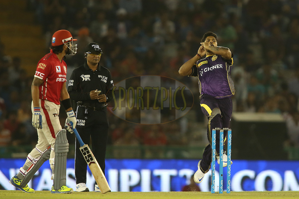 Umesh Yadav of Kolkata Knight Riders sends down a delivery during match 13 of the Vivo Indian Premier League (IPL) 2016 between the Kings XI Punjab and the Kolkata Knight Riders held at the IS Bindra Stadium, Mohali, India on the 19th April 2016<br /> <br /> Photo by Shaun Roy / IPL/ SPORTZPICS