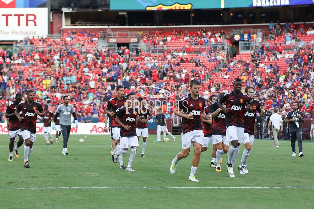 Manchester United players leave field after warm up during the International Champions Cup match between Barcelona and Manchester United at FedEx Field, Landover, United States on 26 July 2017.