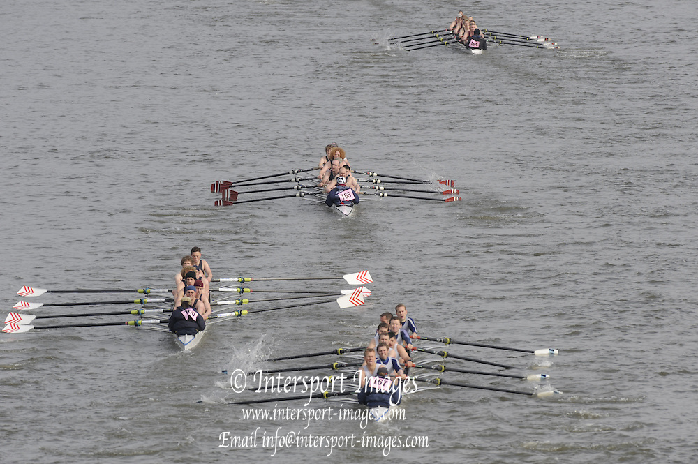 Putney/Barnes,  Great Britain, Worcester RC 2, Bedford 1, 166, Southampton University 2 and 167, Cygnet 1, continue their race within a race as the four crews pass under Barnes Rail Bridge - 2008 Head of the River Race. Raced from Mortlake to Putney, over the Championship Course.  15/03/2008  [Mandatory Credit. Peter Spurrier/Intersport Images] Rowing Course: River Thames, Championship course, Putney to Mortlake 4.25 Miles,