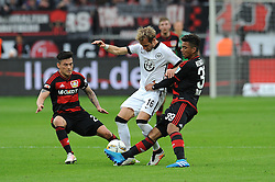 16.04.2016, BayArena, Leverkusen, GER, 1. FBL, Bayer 04 Leverkusen vs Eintracht Frankfurt, 30. Runde, im Bild Charles Aranguiz ( links ) und Benjamin Henrichs ( rechts Bayer 04 Leverkusen ) nehmen Stefan Aigner ( mitte Eintracht Frankfurt ) in die Zange. // during the German Bundesliga 30th round match between Bayer 04 Leverkusen and Eintracht Frankfurt at the BayArena in Leverkusen, Germany on 2016/04/16. EXPA Pictures © 2016, PhotoCredit: EXPA/ Eibner-Pressefoto/ Thienel<br /> <br /> *****ATTENTION - OUT of GER*****