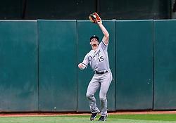 April 18, 2018 - Oakland, CA, U.S. - OAKLAND, CA - APRIL 18: Chicago White Sox center fielder Adam Engel (15) makes a catch deep in center field during the game between the Chicago White Sox verses the Oakland Athletics on Wednesday, April 18, 2018 at O.co Stadium in Oakland, CA (Photo by Douglas Stringer/Icon Sportswire) (Credit Image: © Douglas Stringer/Icon SMI via ZUMA Press)