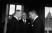 07/06/1967<br /> 06/07/1967<br /> 07 June 1967<br /> New Swedish Ambassador to Ireland presents his credentials To President Eamon de Valera at Aras an Uachtarain. Picture shows His Excellency Bjorn Eyvind Bratt, (right) chatting with President de Valera (left) and Mr. Frank Aiken, Minister for External Affairs after the ceremony.