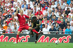 LONDON, ENGLAND - Saturday, June 2, 2012: England's goalkeeper Joe Hart in action against Belgium's Romelu Lukaku during the International Friendly match at Wembley. (Pic by David Rawcliffe/Propaganda)