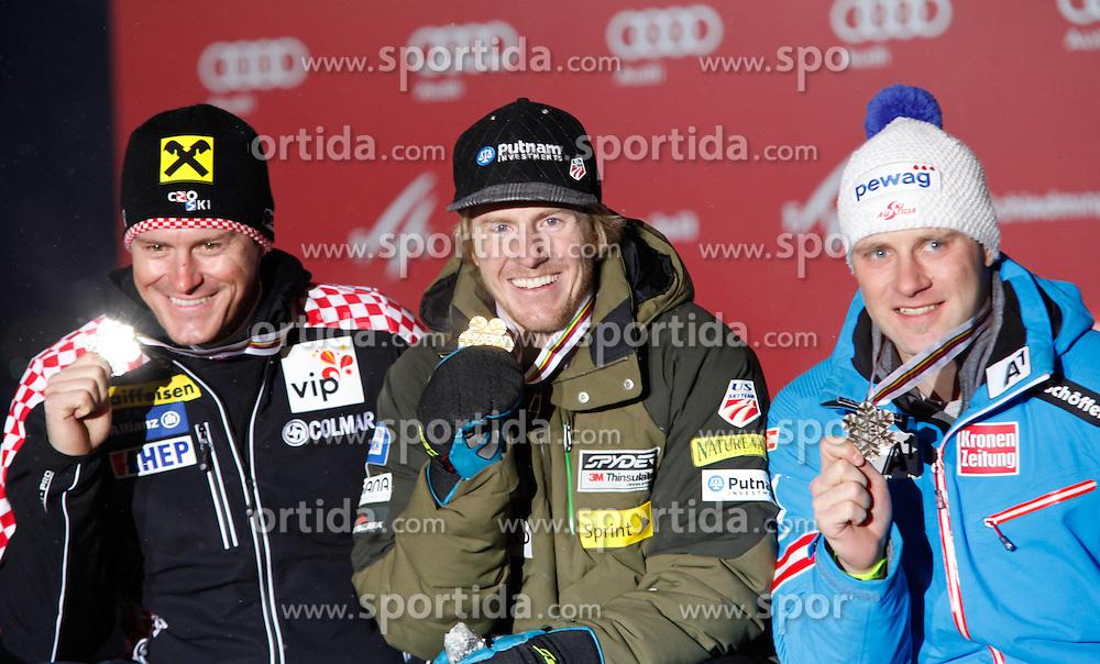 13.02.2013, Medal Plaza, Schladming, AUT, FIS Weltmeisterschaften Ski Alpin, Super Kombination,  Herren, Siegerehrung, im Bild v. l. Ivica Kostelic (CRO, 2. Platz), Ted Ligety (USA, 1. Platz), Romed Baumann (AUT, 3. Platz) // from left 2nd place Ivica Kostelic of Croatia, 1st place Ted Ligety of United States, 3rd place Romed Baumann of Austria at the Winner Award Ceremony for Mens Super Combined at the FIS Ski World Championships 2013 at the Medal Plaza, Schladming, Austria on 2013/02/13. EXPA Pictures © 2013, PhotoCredit: EXPA/ Martin Huber