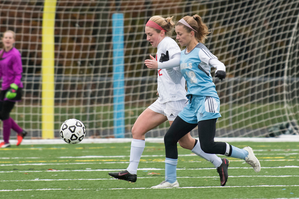 during the girls high school playoff game between the Champlain Valley Union Redhawks and the South Burlington Rebels at South Burlington High School on Saturday afternoon October 29, 2016 in South Burlington. (BRIAN JENKINS/for the FREE PRESS)