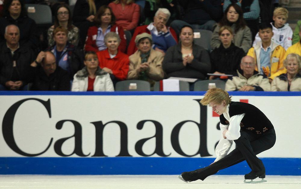 20101030 -- Kingston, Ontario -- Kevin Reynolds of Canada skates his free skate at Skate Canada International in Kingston, Ontario, Canada, October 30, 2010. <br /> AFP PHOTO/Geoff Robins