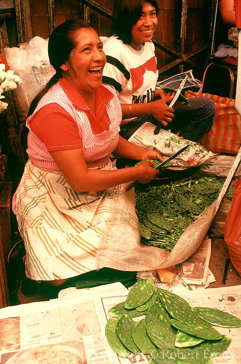 MEXICO, MARKETS Xochimilco; nopal cactus leaves