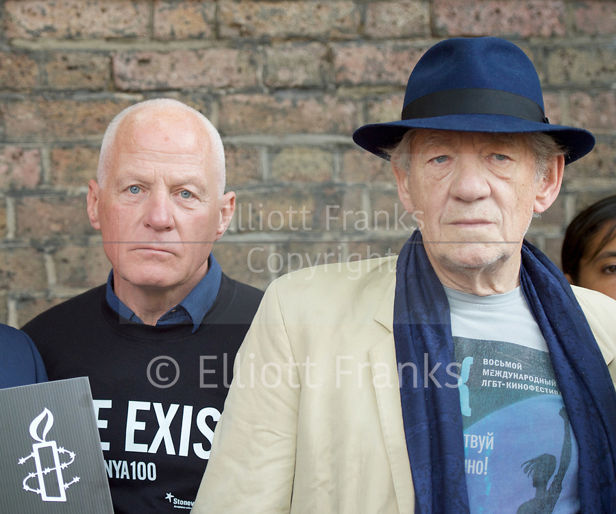 Lord Michael Cashman <br /> <br /> Sir Ian McKellen <br /> <br /> <br /> Amnesty International UK<br /> CHECHNYA: STOP ABDUCTING AND KILLING GAY MEN<br /> protest at the Russian Embassy, London, Great Britain <br /> 2nd June 2017 <br /> <br /> Over a hundred men suspected of being gay have been abducted, tortured and some even killed in the southern Russian republic of Chechnya.<br /> <br /> The Chechen government won&rsquo;t admit that gay men even exist in Chechnya, let alone that they ordered what the police call 'preventive mopping up' of people they deem undesirable. We urgently need your help to call out the Chechen government on the persecution of people who are, as they put it, of 'non-traditional orientation', and urge immediate action to ensure their safety.<br /> <br /> Photograph by Elliott Franks <br /> Image licensed to Elliott Franks Photography Services