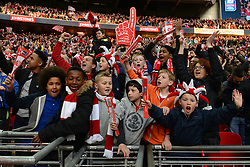 Bristol City fans celebrate as Bristol City beat Walsall in the Johnstone Paint Trophy - Photo mandatory by-line: Dougie Allward/JMP - Mobile: 07966 386802 - 22/03/2015 - SPORT - Football - London - Wembley Stadium - Bristol City v Walsall - Johnstone Paint Trophy Final