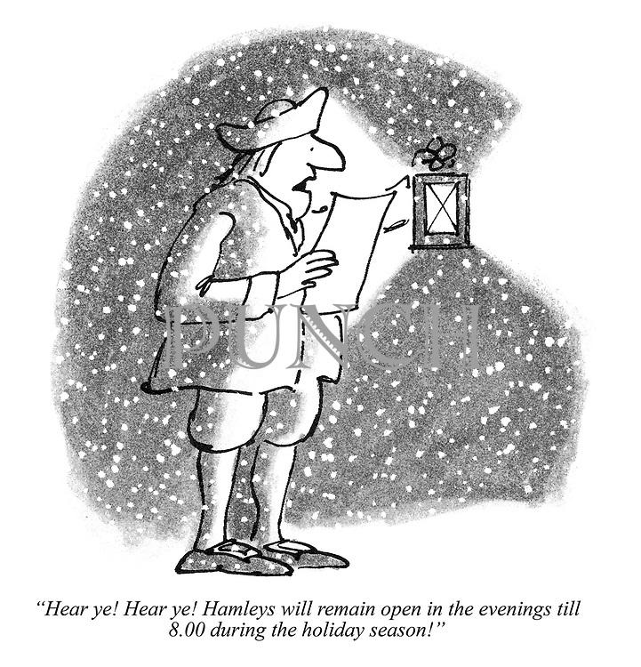 """Hear ye! Hear ye! Hamleys will remain open in the evenings till 8.00 during the holiday season!"""