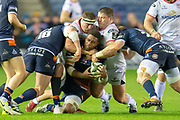Viliame Mata (#8) of Edinburgh Rugby is brought to the ground during the Guinness Pro 14 2018_19 match between Edinburgh Rugby and Ulster Rugby at the BT Murrayfield Stadium, Edinburgh, Scotland on 12 April 2019.