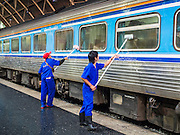 11 APRIL 2015 - BANGKOK, THAILAND: Workers clean a train car at Hua Lamphong train station in Bangkok.       PHOTO BY JACK KURTZ