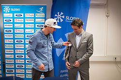 Tim Mastnak of Slovenia, silver medalist at Giant Slalom Snowboard World Championships in Utah, USA with Franci Petek, CEO of Slovenian Ski Association during press conference after arrival in Ljubljana, Slovenia, on February 11, 2019. Photo by Anze Petkovsek / Sportida