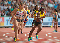 Athletics - 2017 IAAF London World Athletics Championships - Day Nine, Morning Session<br /> <br /> 4 x 100m Relay Women - Round 1<br /> <br /> Jamaica and Germany head into the home straight on the final leg at the London Stadium<br /> <br /> COLORSPORT/DANIEL BEARHAM