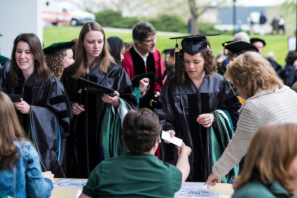 Students checkin before the start of Graduate Commencement on Friday, May 1, 2015.  Photo by Ohio University  /  Rob Hardin