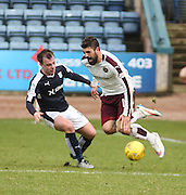 Hearts&rsquo; Juanma Delgado takes a tumble as Dundee&rsquo;s Paul McGowan challenges - Dundee v Hearts - Ladbrokes Premiership at Dens Park <br />  - &copy; David Young - www.davidyoungphoto.co.uk - email: davidyoungphoto@gmail.com