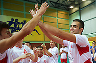 during of The Special Olympics Unified Volleyball Tournament at Ursynow Arena in Warsaw on August 29, 2014.<br /> <br /> Poland, Warsaw, August 29, 2014<br /> <br /> For editorial use only. Any commercial or promotional use requires permission.<br /> <br /> Mandatory credit:<br /> Photo by © Adam Nurkiewicz / Mediasport