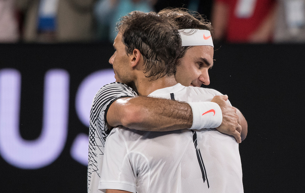 Roger Federer of Switzerland and Rafael Nadal of Spain after of the men's final on day fourteen of the 2017 Australian Open at Melbourne Park on January 29, 2017 in Melbourne, Australia.<br /> (Ben Solomon/Tennis Australia)