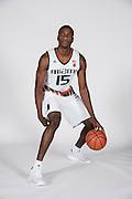 September 28, 2016: Ebuka Izundu #15 poses during  Miami Hurricanes Men's Basketball Photo Day in Coral Gables, Florida.
