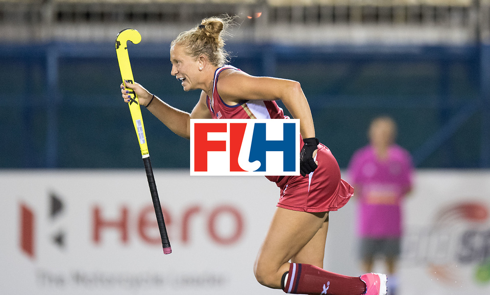 AUCKLAND - Sentinel Hockey World League final women<br /> Match id: 10300<br /> 10 New Zealand v USA<br /> Foto: Taylor West (r) scores a stroke for 1-2<br /> WORLDSPORTPICS COPYRIGHT FRANK UIJLENBROEK