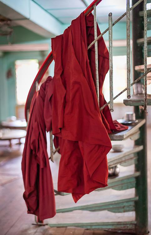 Monk robe at Kha Khat Wain Kyaung Monastery Dining Room (Bago, Myanmar)