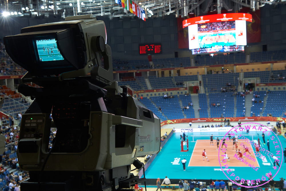 Polsat tv production - TV Licensed Broadcaster during FIVB Volleyball Men's World Championship Poland 2014 at Krakow Arena Hall in Cracow on September 04, 2014.<br /> <br /> Poland, Cracow, September 04, 2014<br /> <br /> For editorial use only. Any commercial or promotional use requires permission.<br /> <br /> Mandatory credit:<br /> Photo by &copy; Adam Nurkiewicz / Mediasport