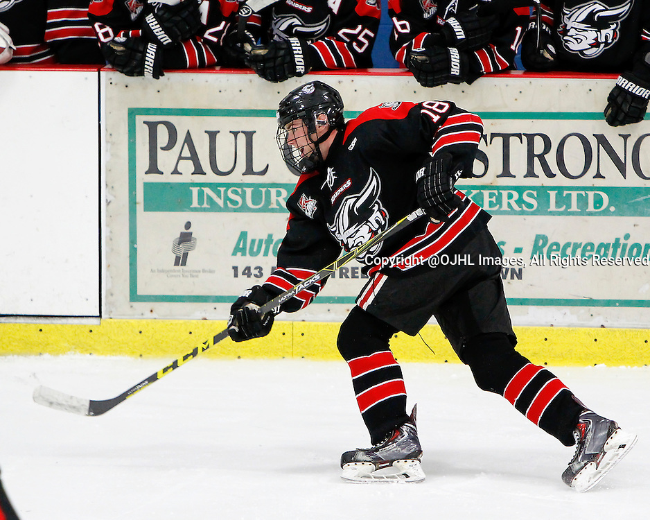 GEORGETOWN, ON - Oct 10, 2015 : Ontario Junior Hockey League game action between Buffalo and Georgetown, Matthew Thom #18 shoots the puck during the second period.<br /> (Photo by Brian Watts / OJHL Images)