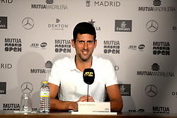 May 6, 2019 - Madrid, Spain - Press conference of Novak Djokovic during day three of the Mutua Madrid Open at La Caja Magica in Madrid on 6th May, 2019. (Credit Image: © Juan Carlos Lucas/NurPhoto via ZUMA Press)