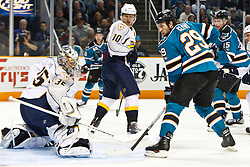 March 8, 2011; San Jose, CA, USA;  San Jose Sharks right wing Ryane Clowe (29) scores a goal past Nashville Predators goalie Pekka Rinne (35) during the first period at HP Pavilion. Mandatory Credit: Jason O. Watson / US PRESSWIRE