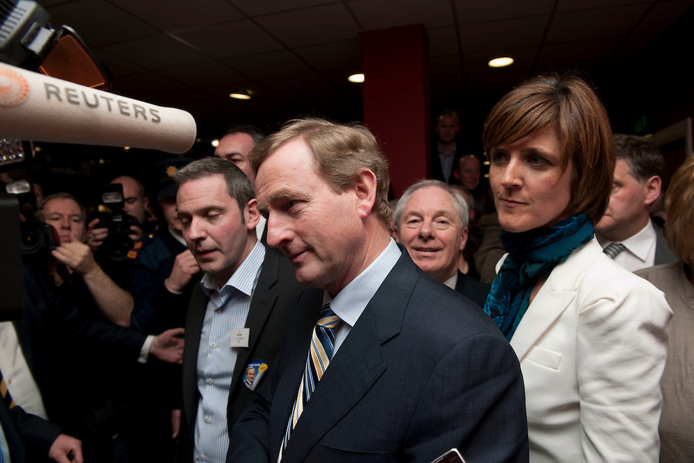 Castlebar Count Centre, Enda Kenny Speaking to Reuters with Michelle Mulhern and Michael Ring at the royal theatre castlebar, Co.Mayo..Pic: Michael Mc Laughlin
