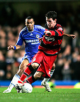 Photo: Tom Dulat.<br /> <br /> Chelsea v Queens Park Rangers. FA Cup Third Round. 05/01/2008. <br /> <br /> Kieran Lee of Queens Park Rangers and Ashley Cole of Chelsea with the ball.