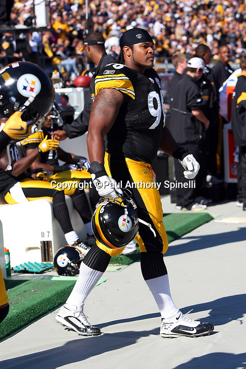 Pittsburgh Steelers rookie defensive end Ziggy Hood (96) paces the bench area during the NFL football game against the Minnesota Vikings, October 25, 2009 in Pittsburgh, Pennsylvania. The Steelers won the game 27-17. (©Paul Anthony Spinelli)