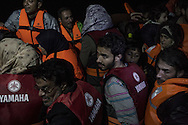 A rubber boat overloaded with Syrian refugees had an engine failure during the night and was safely towed to Skala Sikaminias port by a fishing boat, Greece on 12<br /> November, 2015. Lesbos, the Greek vacation island in the Aegean Sea between Turkey and Greece, faces massive refugee flows from the Middle East countries.