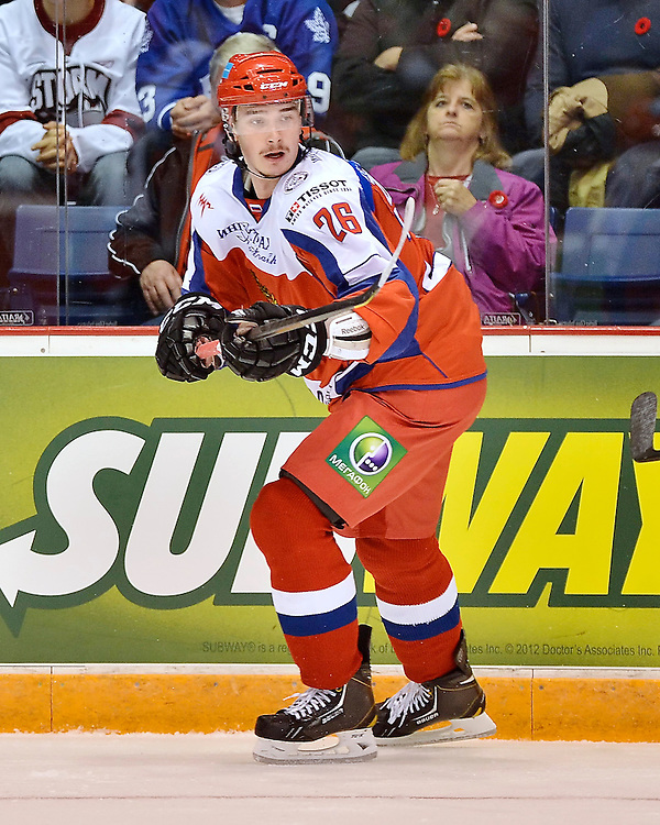 Game 3 of the SUBWAY Super Series in Guelph, ON on Thursday Nov. 8, 2012. Photo by Terry Wilson / OHL Images.