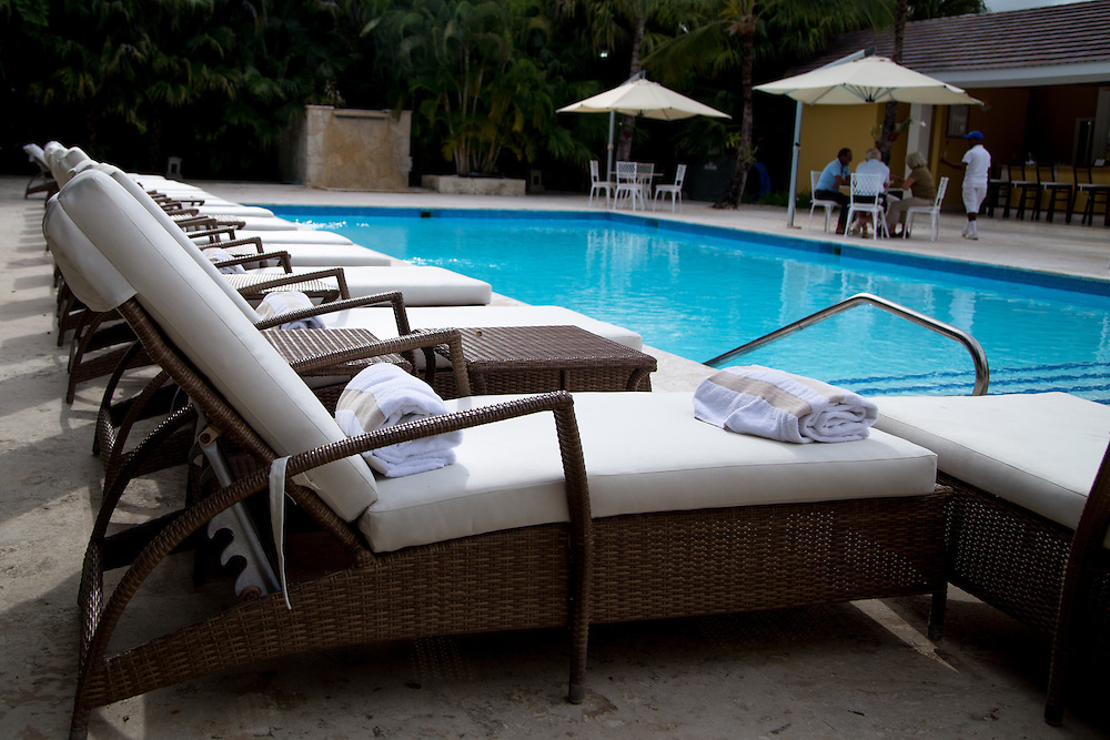 PUNTA CANA, DOMINICAN REPUBLIC-DECEMBER 3, 2014: Neatly prepared lounge chairs at the Tortuga Bay Resort in Punta Cana. Story on tourism to the Caribbean Island.  (Photo by Angel Valentin/Getty Images for Der Spiegel)