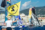Emirates Team New Zealand, two minutes to race start on day two of the Extreme Sailing Series at Nice. 3/10/2014