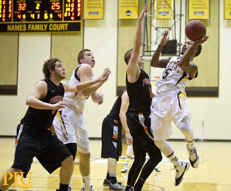 PLU men's basketball on Friday, Feb. 6, 2015. (Photo/John Froschauer)