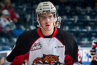 KELOWNA, CANADA - DECEMBER 5: Josh Anderson #28 of Prince George Cougars warms up against the Kelowna Rockets on December 5, 2014 at Prospera Place in Kelowna, British Columbia, Canada.  (Photo by Marissa Baecker/Shoot the Breeze)  *** Local Caption *** Josh Anderson;