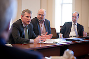 Members of the Voinovich School and College of Business at Ohio University meet with John Minor of JobsOhio and John Molinaro of Appalachian Partnership for Economic Growth Thursday March 20, 2014  Photo by Ohio University / Jonathan Adams