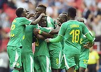 0:1 Jubel v.l. Moussa Wague, Ismaila Sarr, Torschuetze Idrissa Gueye, Salif Sane, Ismaila Sarr (Senegal)<br /> Moskau, 19.06.2018, FIFA Fussball WM 2018 in Russland, Vorrunde, Polen - Senegal 1:2