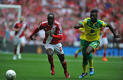 Middlebrough Albert Adomah holds off Norwich Alexander Tettey, Middlesbrough v Norwich, Sky Bet Championship, Play Off Final, Wembley Stadium, Monday  25th May 2015