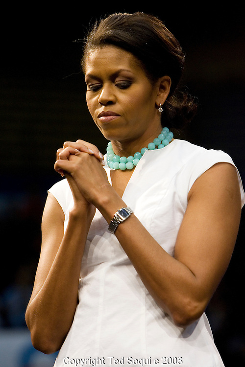Michelle Obama..Wife of Barack Obama, Michelle, lead a rally for her husband held inside the Pauley Pavillion at UCLA. About 10 thousand people were in attendance..Oprah Winfrey, Caroline Kennedy-daughter of JFK, Maria Elena Durazo, and surprise guest Maria Shriver-California's First lady all spoke on behalf of Barack Obama. .Stevie Wonder also spoke and played a short song. .