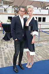 Johnnie Walker Blue Label hosts intimate game changer dinner for 10 Scottish influencers and key arts press aboard the John Walker & Sons Voyager moored at the Prince of Wales Docks, Leith, Edinburgh, Scotland on 14th August 2013.<br /> Picture shows:-Model Anna Freemantle and her husband Jonathan Freemantle.