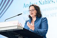 13 SEP 2018, BERLIN/GERMANY:<br /> Andrea Nahles, SPD Fraktions- und Parteivorsitzende, haelt eine Rede,  Mitgliederversammlung SPD Wirtschaftsforum, Maritim proArte Hotel<br /> IMAGE: 20180913-02-096