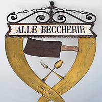 "TREVISO, ITALY - AUGUST 24:  The sign of the Restaurant ""Alle Beccherie"" is seen  on August 24, 2013 in Treviso, Italy. Treviso claims that Tiramisu was invented in the 1960s by Alba Campeol, the owner of the Restaurant called ÒAlle BeccherieÓ, who supposedly wanted to create a dessert that would give her an energy boost after the birth of her son.  (Photo by Marco Secchi/Getty Images)"